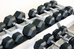 Fitness exercise equipment dumbbell weights Royalty Free Stock Image