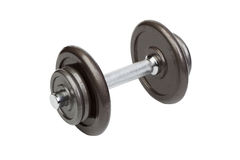Fitness exercise equipment dumbbell weights on white Stock Photo