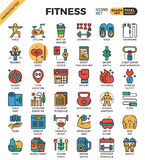 Fitness exercise icons. Fitness and Exercise concept detailed line icons set in modern line icon style concept for ui, ux, web, app design Royalty Free Stock Image