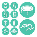 Fitness and Exercise Icons set Stock Images