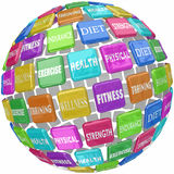Fitness Exercise Physical Health Words Globe Ball. Fitness words on colorful tiles in a ball or sphere, including diet, exercise, health, wellness, training Stock Photos