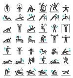 Fitness exercise workout icons set. Vector illustrations stock illustration