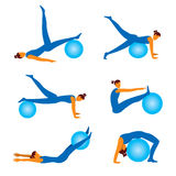 Fitness exercises with ball icons Stock Photos