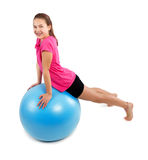 Fitness exercises with blue ball Stock Photo