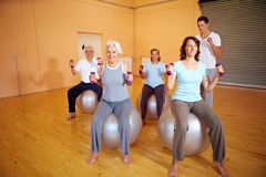 Fitness exercises with dumbbells Stock Image