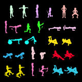 Fitness Exercises icons Set Royalty Free Stock Images