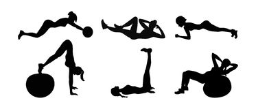 Fitness exercises set. vector illustration