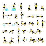 Fitness Exercises Set Stock Photos