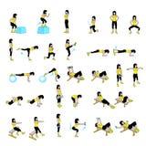 Fitness Exercises Set. Fitness sport gimnastics Exercises Set Stock Photos