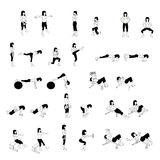 Fitness Exercises Set Royalty Free Stock Photo