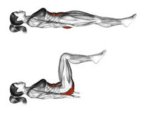 Free Fitness Exercising. Ab Draw Leg Side. Female Stock Images - 66588484