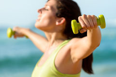 Fitness exercising with dumbbells concept Royalty Free Stock Image