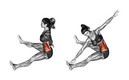 Fitness exercising. Rotation spins to the slopes of sitting. Female
