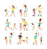 Fitness family, parents and kids training together. Active families doing sports exercise vector flat people isolated. Illustration of sport lifestyle parent Royalty Free Stock Photography