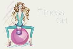Fitness fashion girl with weight sitting on Royalty Free Stock Images