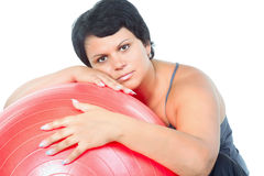 Fitness for fat woman Royalty Free Stock Image