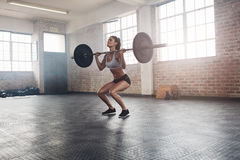 Fitness female athlete lifting weights in gym Royalty Free Stock Photos