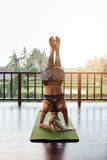 Fitness female doing supported headstand yoga, Sirsasana Royalty Free Stock Photos