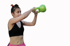 Fitness female exercise with kettle bell Stock Photos