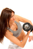 Fitness female gym instructor workout dumbbells Royalty Free Stock Photography