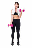 Fitness female instructor lifting dumbbells Royalty Free Stock Image