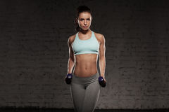 Fitness female woman with muscular body, do her workout with dumbbells. Fitness female woman with muscular body, do her workout with dumbbells Stock Images