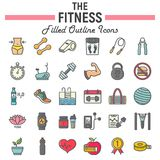 Fitness filled outline icon set, sport signs. Fitness filled outline icon set, sport symbols collection, vector sketches, logo illustrations, healthy diet signs Royalty Free Stock Image