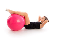 Fitness fitball swiss ball kid girl exercise workout Royalty Free Stock Photography