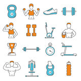 Fitness Flat Color Line Icons Set Royalty Free Stock Images