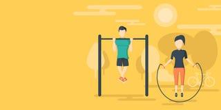 Fitness flat horizontal banner Stock Image