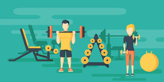 Fitness flat horizontal banners with gym. Training exercises and activity compositions vector illustration Stock Photos