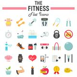Fitness flat icon set, sport symbols collection,. Vector sketches, logo illustrations, healthy diet signs colorful solid pictograms package isolated on white Stock Photos