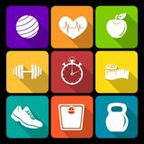Fitness flat icons Royalty Free Stock Photography