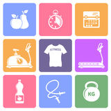 Fitness flat icons Stock Photography