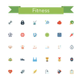 Fitness Flat Icons. Fitness and a healthy lifestyle flat icons set. Vector illustration Royalty Free Stock Image
