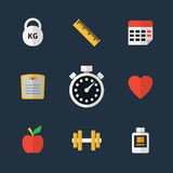 Fitness flat icons Stock Image