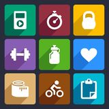 Fitness flat icons set 18. Fitness and sport icons set for Web and Mobile Applications Vector Illustration