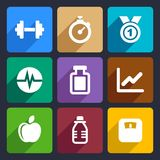 Fitness flat icons set 17. Fitness and sport icons set for Web and Mobile Applications Royalty Free Stock Image