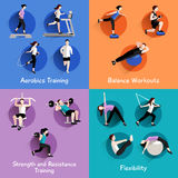 Fitness 4 flat icons square banner Stock Photography