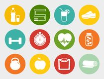 Fitness Flat Icons Stock Images