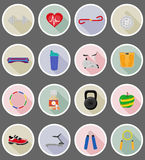 Fitness flat icons vector illustration Stock Image