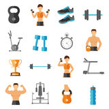 Fitness Flat Style Icons Set. With sportsmen athletes equipment and gear  vector illustration Stock Photos