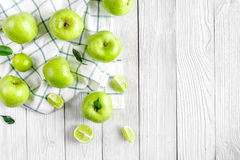 Fitness food with green apples on white background top view mockup Stock Photo
