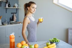 Fitness Food. Healthy Eating Woman On Diet Drinking Fresh Detox Juice, Smoothie For Breakfast. Closeup Of Beautiful Smiling Girl W royalty free stock image