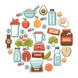 Fitness food poster of sports healthy diet food nutrition icons. Vector flat design of protein drink, natural vegetables or fruits, gym energy bar and mass or stock illustration