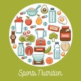 Fitness food poster of sports healthy diet food nutrition icons. Vector flat design of protein drink, natural vegetables or fruits, gym energy bar and mass or Stock Photo