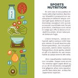 Fitness food poster of sports healthy diet food nutrition icons. Fitness food poster of sports healthy diet food nutrition poster. Vector flat design of protein royalty free illustration