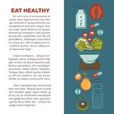 Fitness food poster of sports healthy diet food nutrition icons. stock illustration