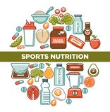 Fitness food poster of sports healthy diet food nutrition icons. Vector flat design of protein drink, natural vegetables or fruits, gym energy bar and mass or Stock Image