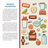 Fitness food poster of sports healthy diet food nutrition icons. Fitness food poster of sports healthy diet food nutrition poster. Vector flat design of protein Royalty Free Stock Photography